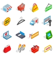 Shopping icons set isometric 3d style vector image vector image