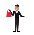 smiling man holding shopping bags vector image