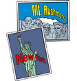 statue liberty new york city rushmore usa vector image vector image