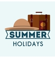 summer holidays suitcases and hat poster vector image