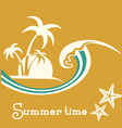 Summer time with sea wave and tropical palm trees vector image vector image