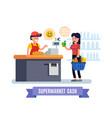 supermarket girl at cash register supermarket vector image