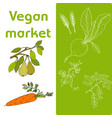 vegan farmer market card set with fresh vegetables vector image