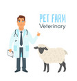 veterinarian doctor with sheep vector image vector image