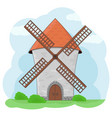 windmill with green grass and blue sky colored vector image
