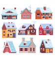 winter houses and cottages set vector image vector image