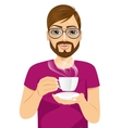young man drinking hot coffee or tea vector image vector image