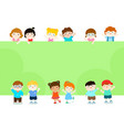 happy children holding blank poster template for vector image