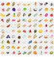 100 food icons set isometric 3d style vector image vector image