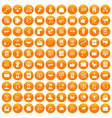 100 interaction icons set orange vector image vector image