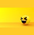 3d smiling ball sign emoticon icon design for vector image