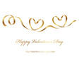 a valentine card with a gold ribbon and text space vector image vector image