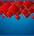 abstract red squares on blue background vector image vector image
