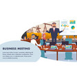 banner business meeting oil company management vector image vector image