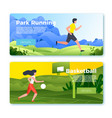 banner with jogging man and basketball girl vector image vector image