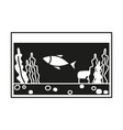 black and white fish aquarium silhouette vector image