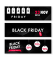 black friday sale horizontal banners set isolated vector image