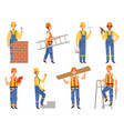 builder cartoon character funny mascots vector image