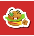 Burger Sandwich Showing Thumbs Up Cute Emoji vector image vector image
