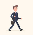businessman goes to work with a bag vector image vector image