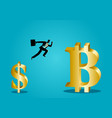 businessman jumps from small dollar symbol to vector image