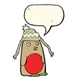 cartoon robin in hat with speech bubble vector image vector image