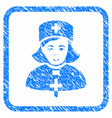 church female doctor framed stamp vector image vector image