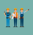 construction workers holding blueprint spatula vector image vector image