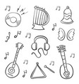 doodle of music object hand draw vector image vector image