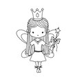 dotted shape girl dancing ballet with crown and vector image