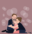 family hug care father mother to their daughter vector image vector image
