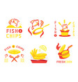 fish and chip badge design and vector image