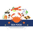flat colorful seafood composition vector image vector image