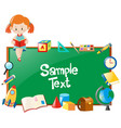 frame design with girl reading book and school vector image vector image