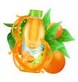 fresh orange juice realistic juice bottle vector image vector image