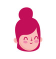 girl face cartoon character isolated icon white vector image vector image