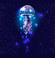 glowing vivid transparent underwater a jellyfish vector image vector image