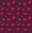 halloween seamless pattern with skulls bats vector image vector image