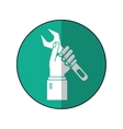 hand holding wrench support engine symbol-green vector image