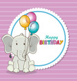 happy birthday card with cute elephant vector image vector image