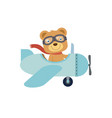 happy little cute teddy bear riding a blue vector image