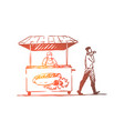 hot dog fast food kiosk street concept vector image