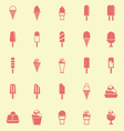 Ice cream color icons on yellow background vector image vector image