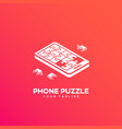 isometric puzzle phone logo vector image vector image