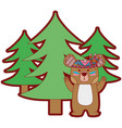 line color ethnic bear animal with pine trees vector image vector image