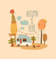 little trailer standing in autumnal forest hello vector image vector image
