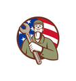 Mechanic Holding Wrench USA Flag Circle Retro vector image vector image