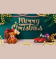 merry christmas green greeting postcard vector image vector image