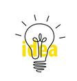 outline light bulb with idea inscription vector image vector image
