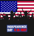 people silhouettes celebrating usa independence vector image vector image